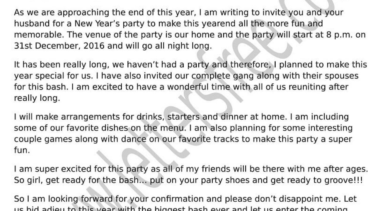 Sample Invitation Letter For New Year Party - Free Letters