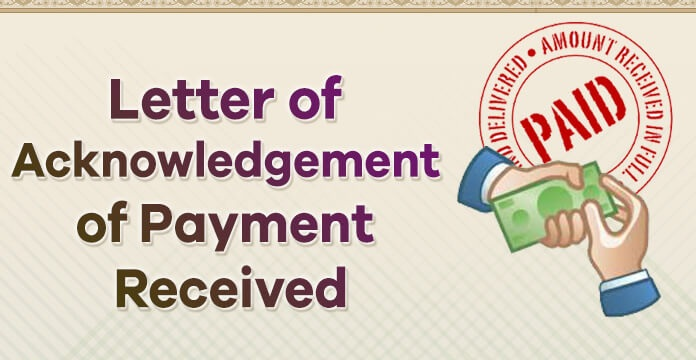 sample Acknowledgement Letter Payment Received