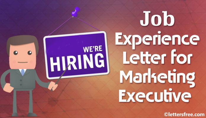 Job Work Experience Certificate Letter Format For Marketing Executive