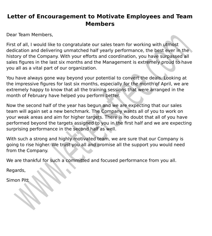 Sample Letter Encouragement to Motivate Employees and Team Members format