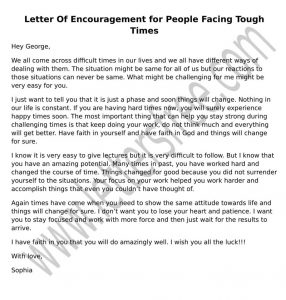sample Letter of Encouragement People Going Through Difficult Times
