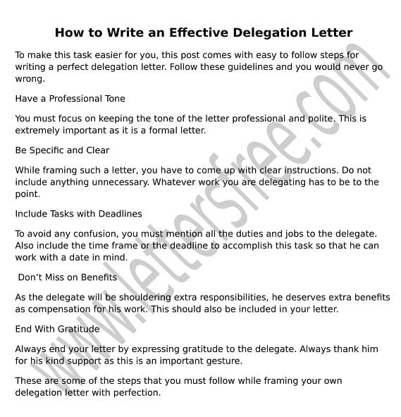 How to write a delegation letter