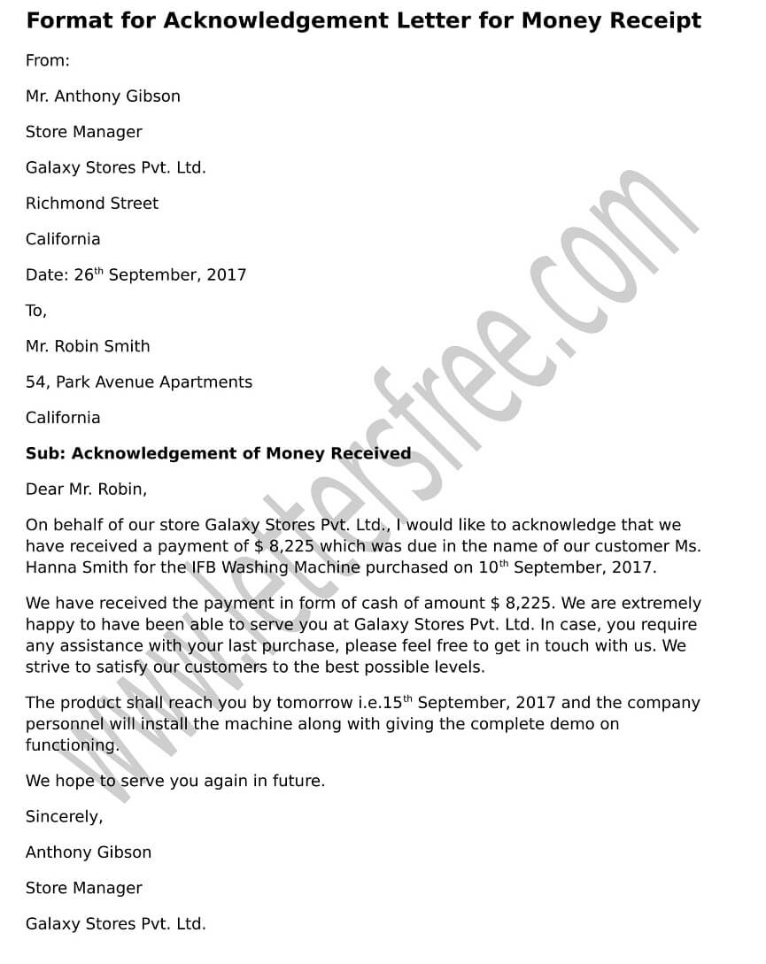 Acknowledgement Letter Format for Money Receipt, Sample Acknowledgement Letter