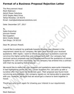 Sample Proposal Business Rejection Letter, Vendor rejection letter format