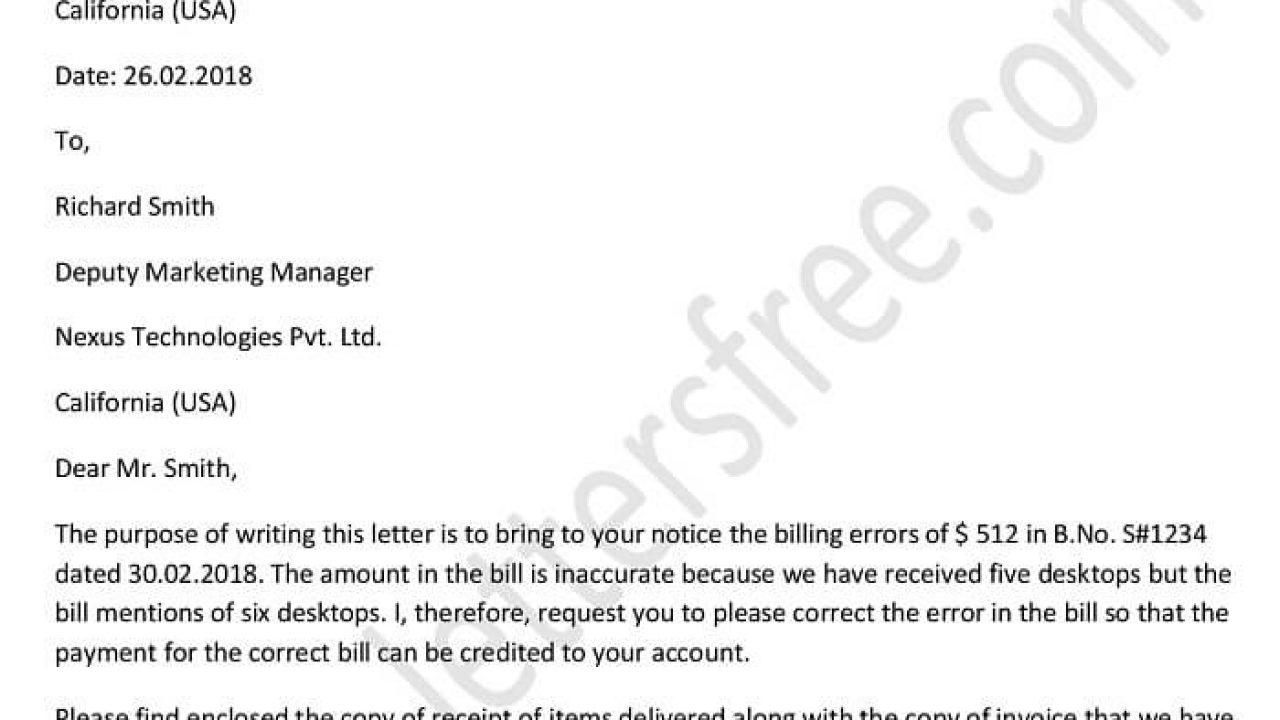 Writing a Dispute Billing Error Letter | Dispute Letter