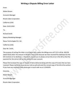 Writing a Dispute Billing Error Letter, Dispute Letter sample Template