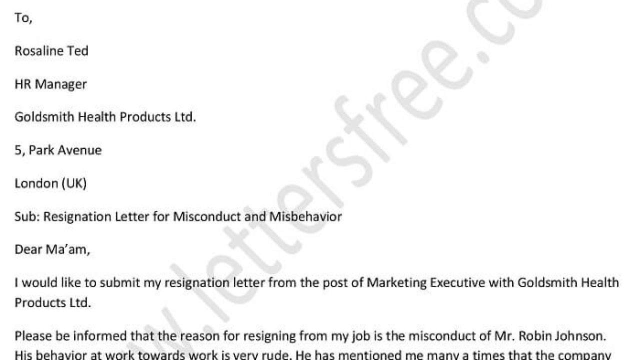 Example Resignation Letter Due to Misconduct and Misbehavior