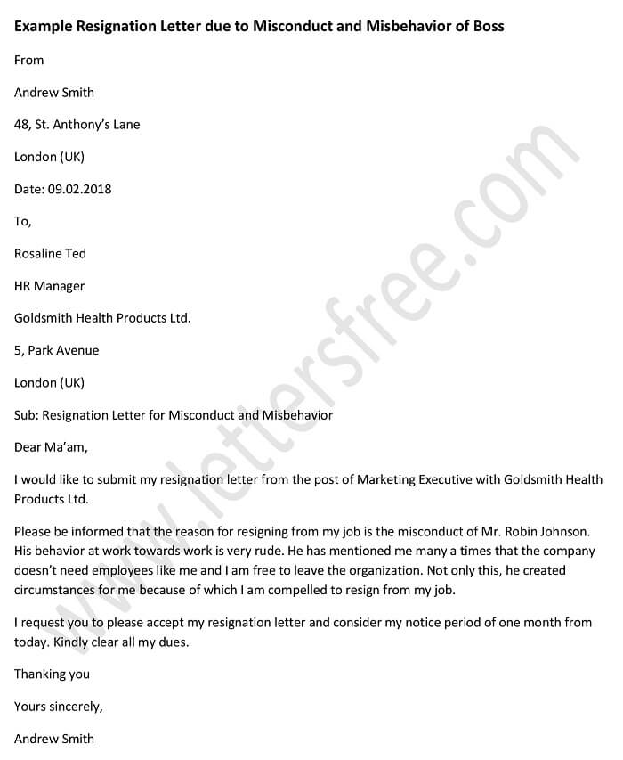 Example Resignation Letter Due to Misconduct and Misbehavior of Boss, Sample Letter Format