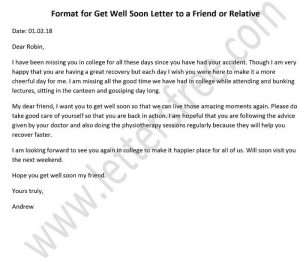 Write a Get well Letter to a Friend Relative, Formal Get well Letter Sample