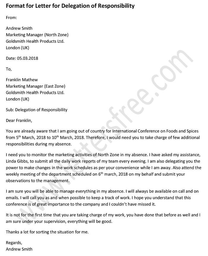 sample letter for delegation of responsibility, delegation letter template