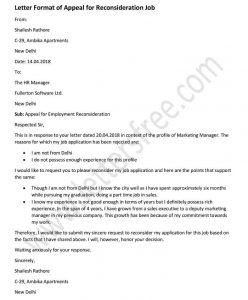 sample letter of appeal for reconsideration job - appeal Letter Format