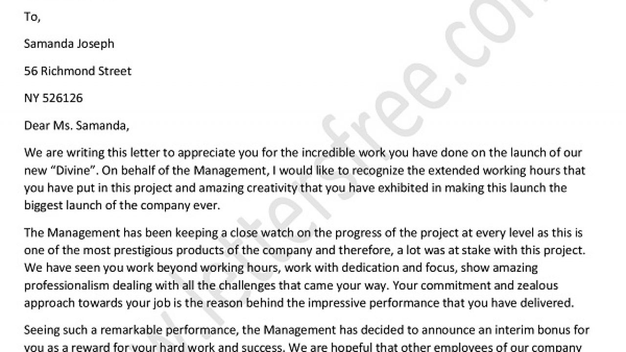 Appreciation Letter For Good Performance For Employee Job