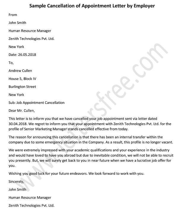 Job Appointment Cancellation Letter, Job offer cancellation letter sample template