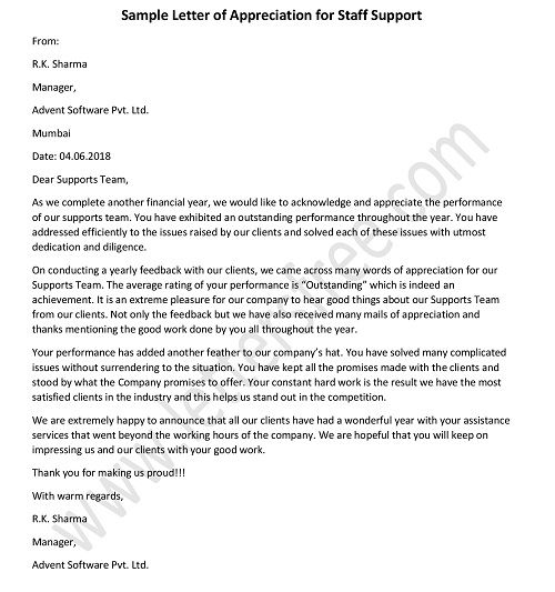 Support Staff Appreciation Letter for Good Work, Sample Appreciation Letter