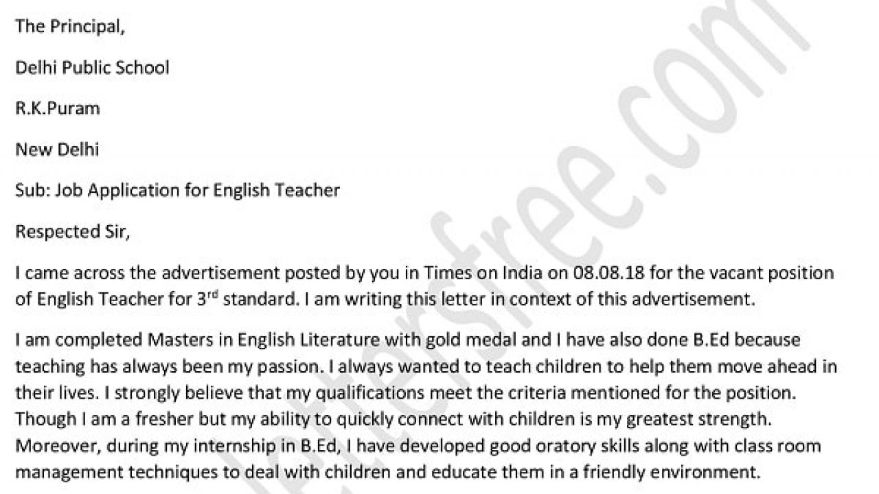 Application Letter For Teacher Job For Fresher Teacher Cover