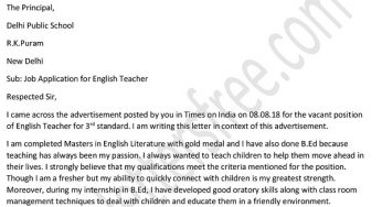 Application Letter For Teacher Job For Fresher.Free Letters Page 5 Of 140 Exclusive Collection Of Free