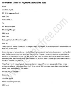 Payment Approval Letter Format to Boss - Approval Letter Sample