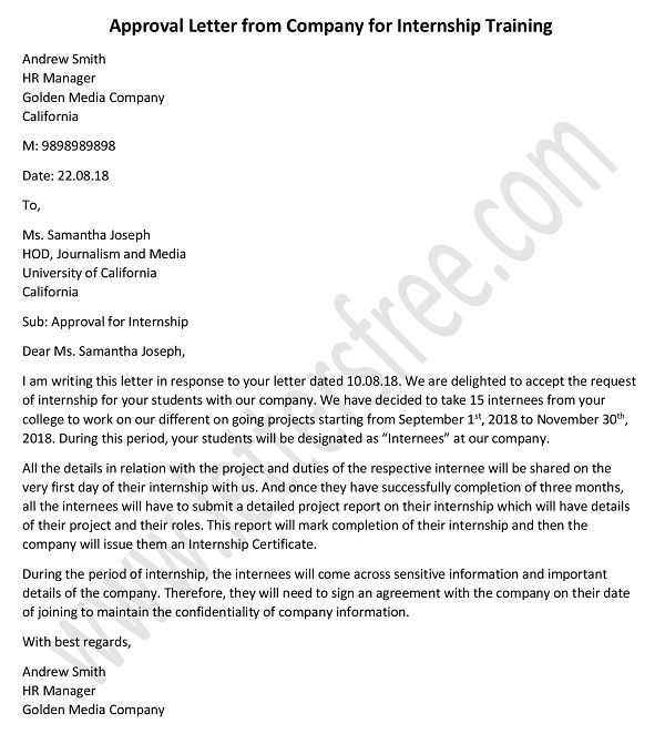 Approval letter from Company for Internship training, Permission letter, acceptance