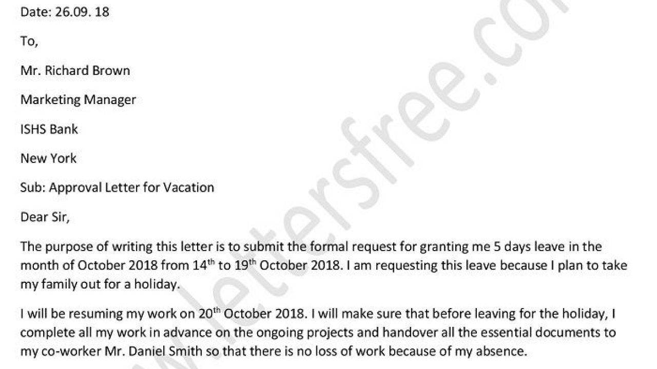 Kf8 Descargar Approval Letter To Boss For Vacation Leave