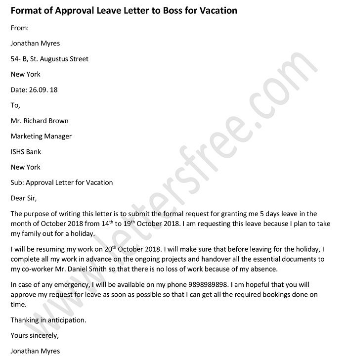 Sample Vacation Leave Letter - Leave Letter to Boss - Leave Request Letter