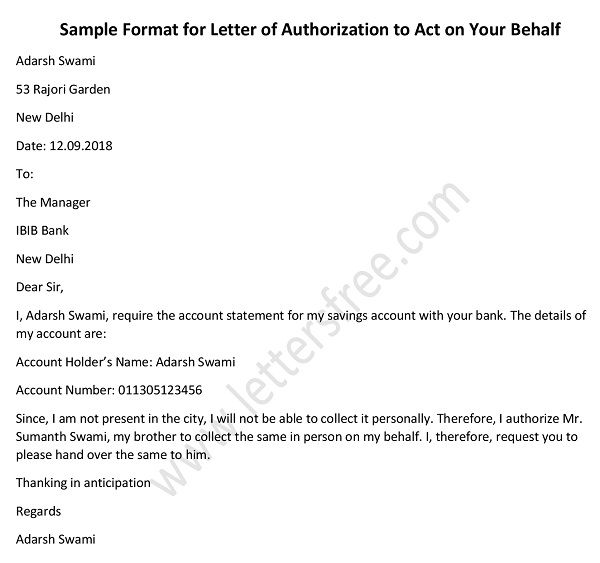 Authorization Letter to Collect Documents - Authorization Letter Template format