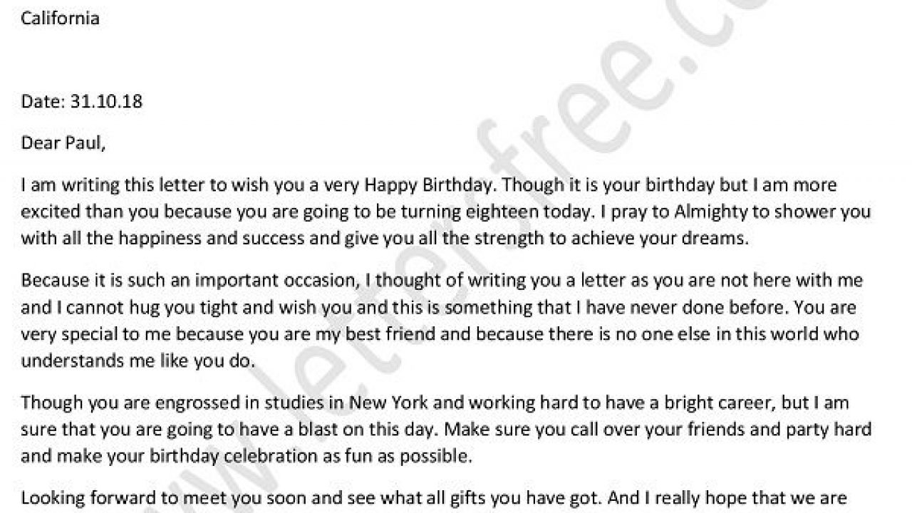 Write A Letter To Your Best Friend On His Birthday