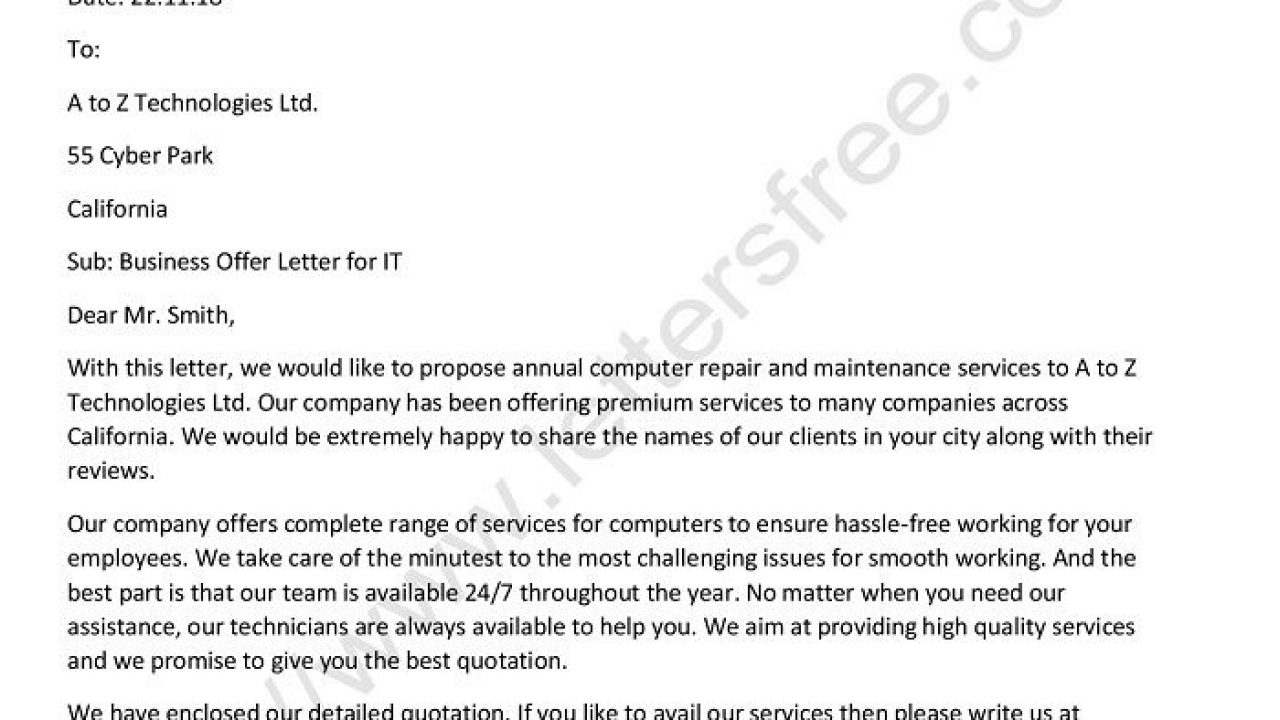 Writing An Offer Letter from www.lettersfree.com
