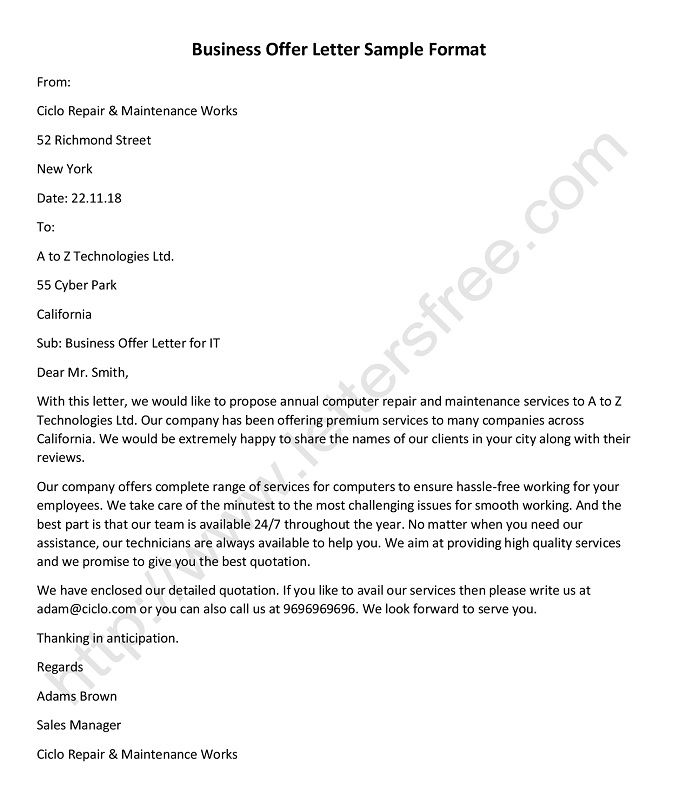 Writing A Business Offer Letter With Sample Format