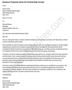 sample business proposal letter for partnership - Business proposal letter format