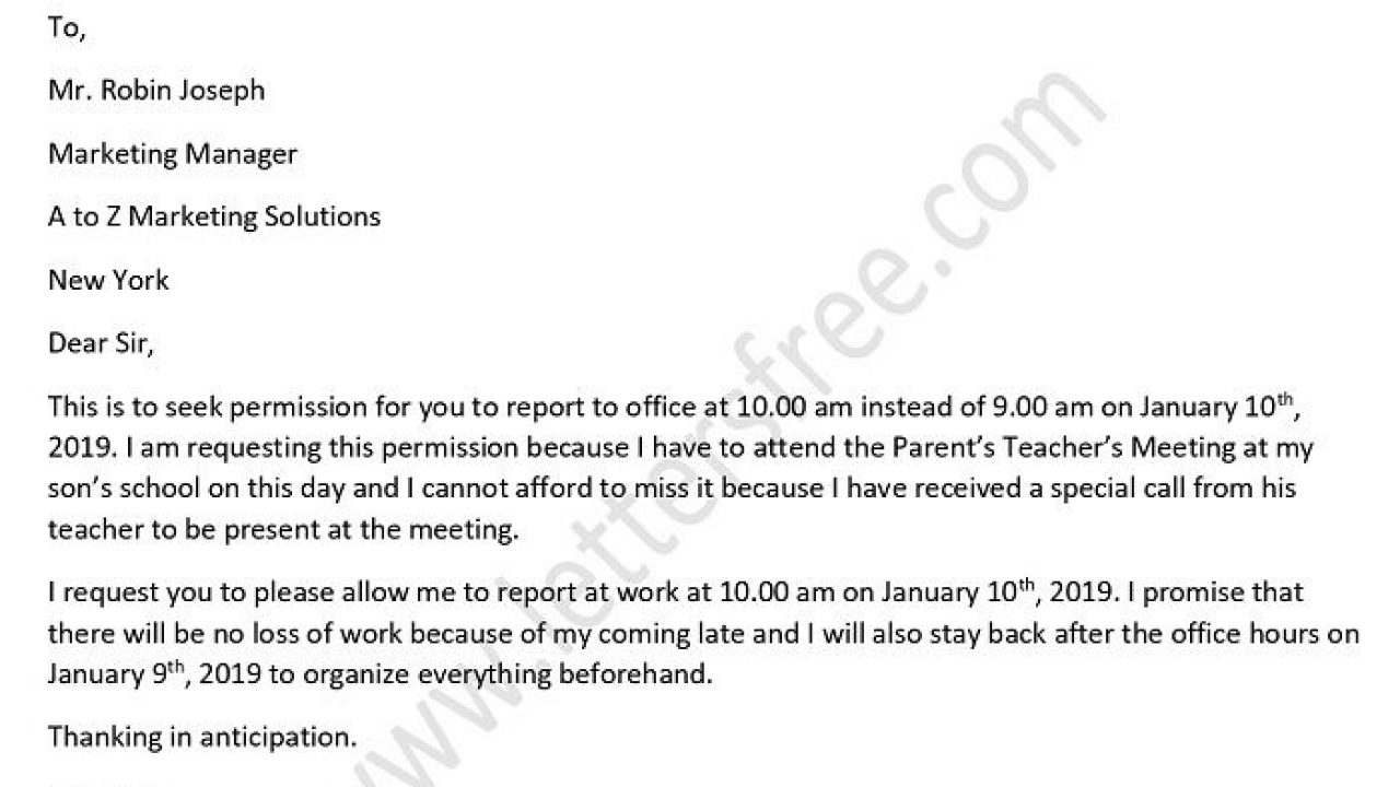Permission Letter to Boss for Late Coming in Office Sample