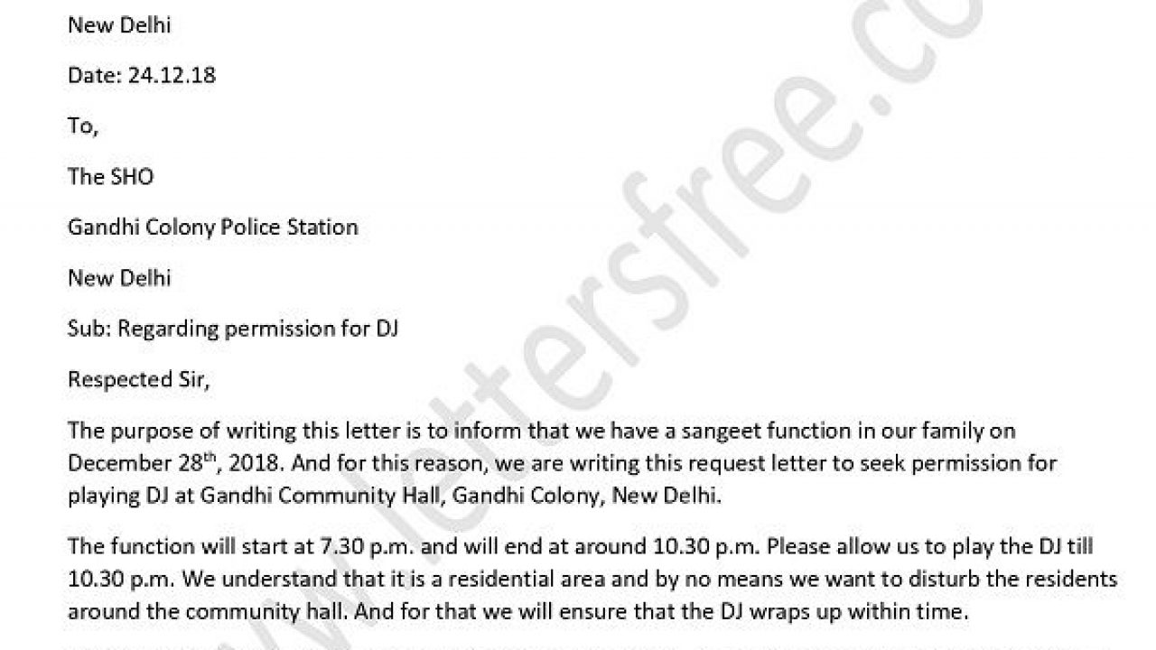 Police Permission Letter for DJ/Loudspeaker in English