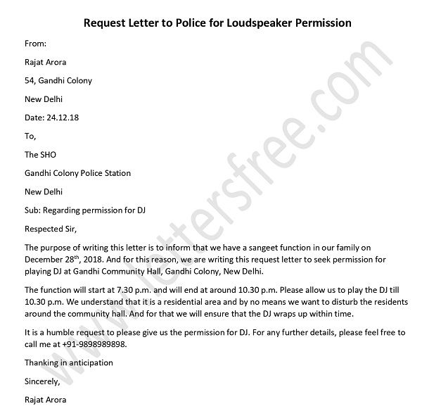 police permission letter for dj in english - loudspeaker permission letter