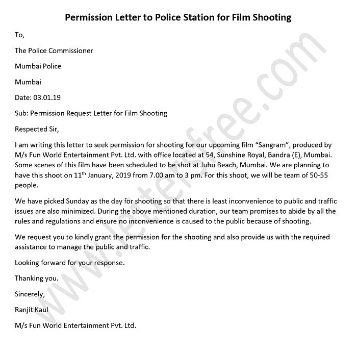 Sample Permission Letter to Police station for Film Shooting