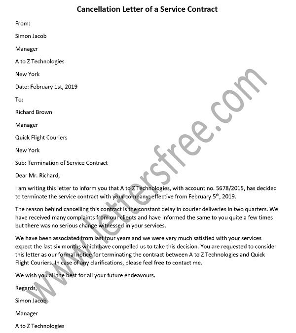 Cancellation Letter of a Service Contract Sample