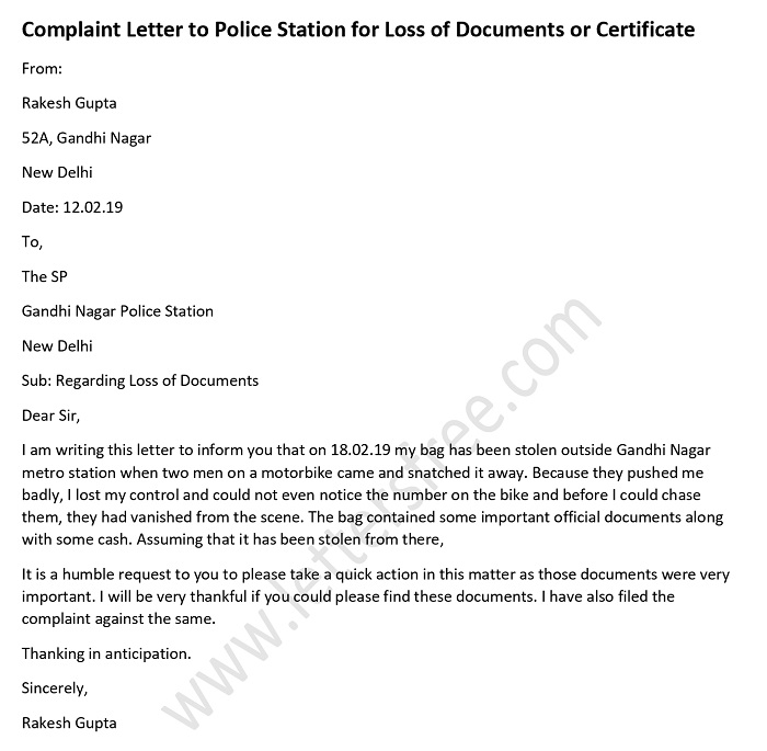 Complaint Letter to Police Station for Loss of Documents or Certificate