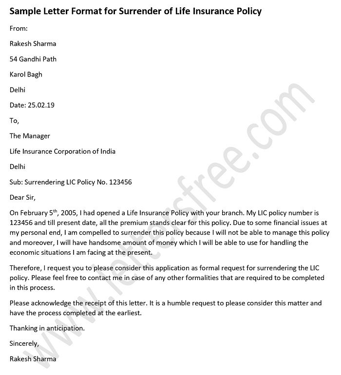 Sample Letter Format for Surrender of Life Insurance Policy