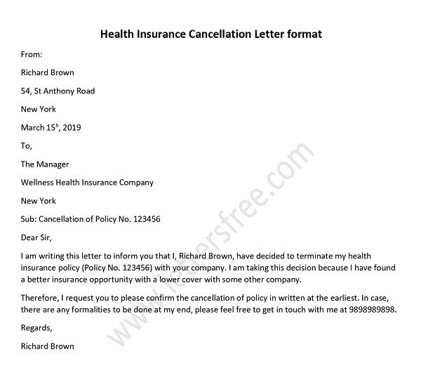 health insurance cancellation letter sample