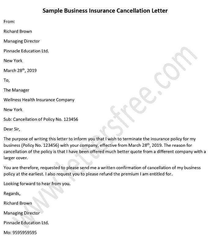 Sample Business Insurance Cancellation Letter
