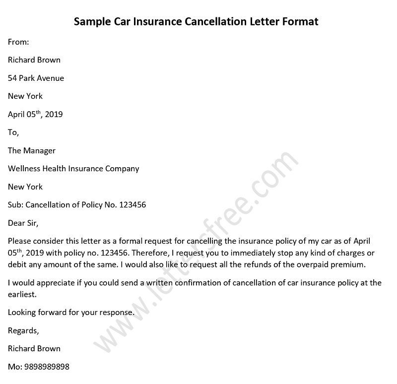 Sample Car Insurance Cancellation Letter