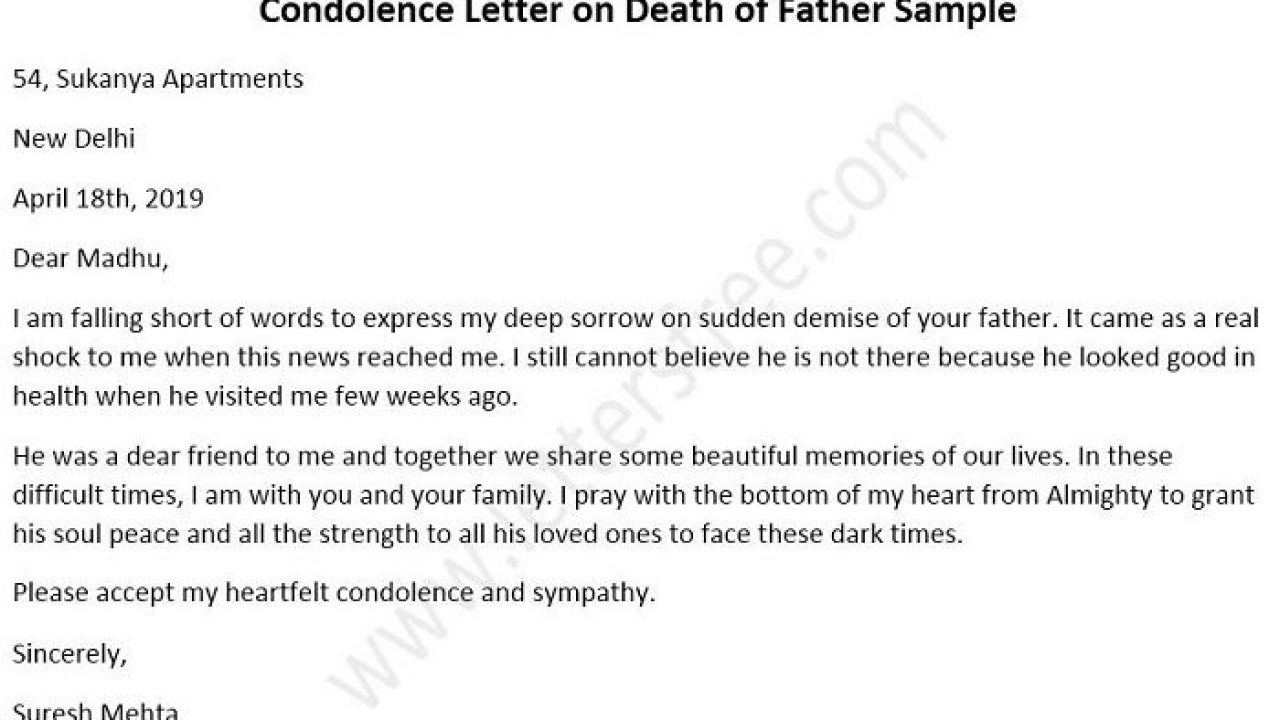 Condolence Letter To Family from www.lettersfree.com