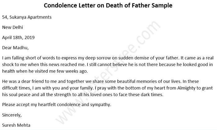 Condolence Letter on Death of Father Sample
