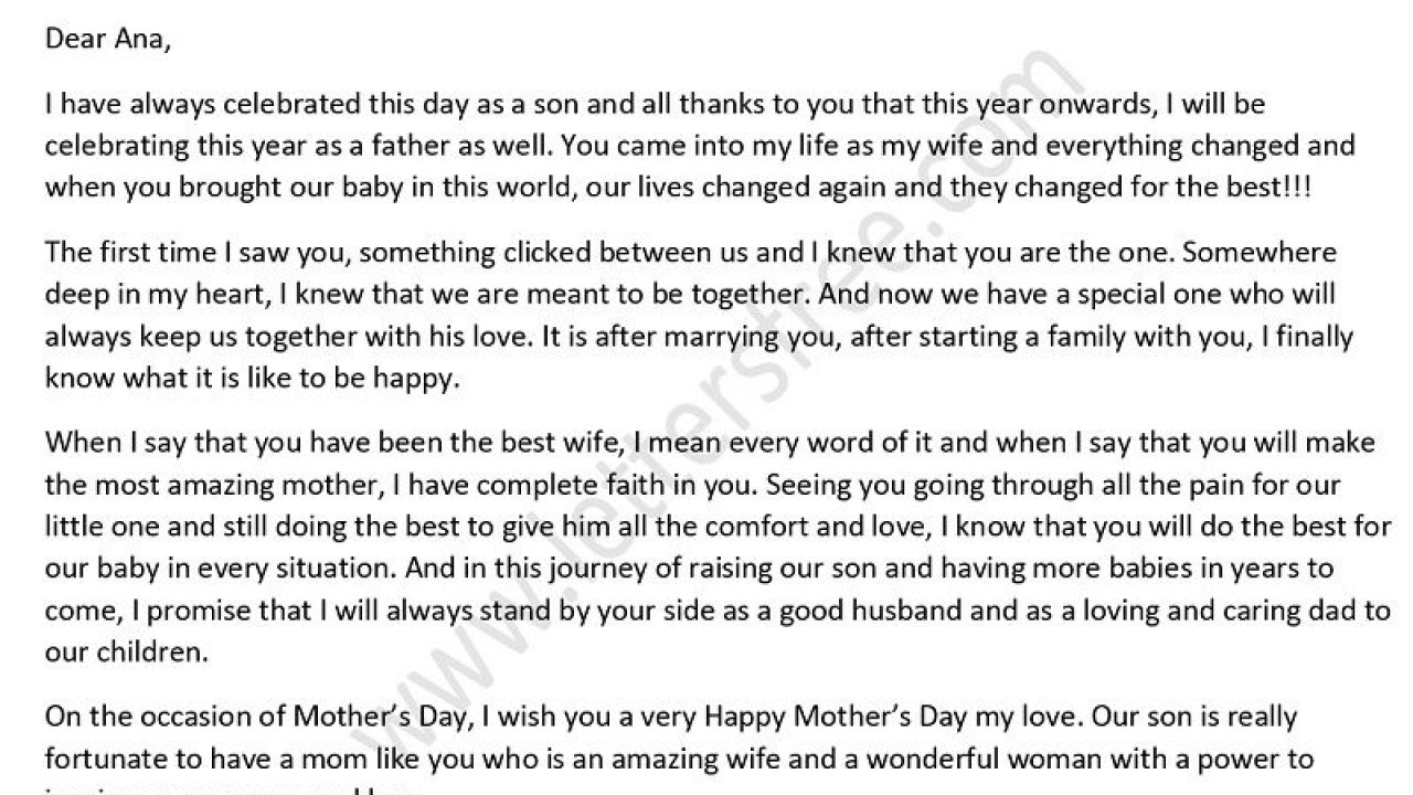 Thank You Mom Letter From Son