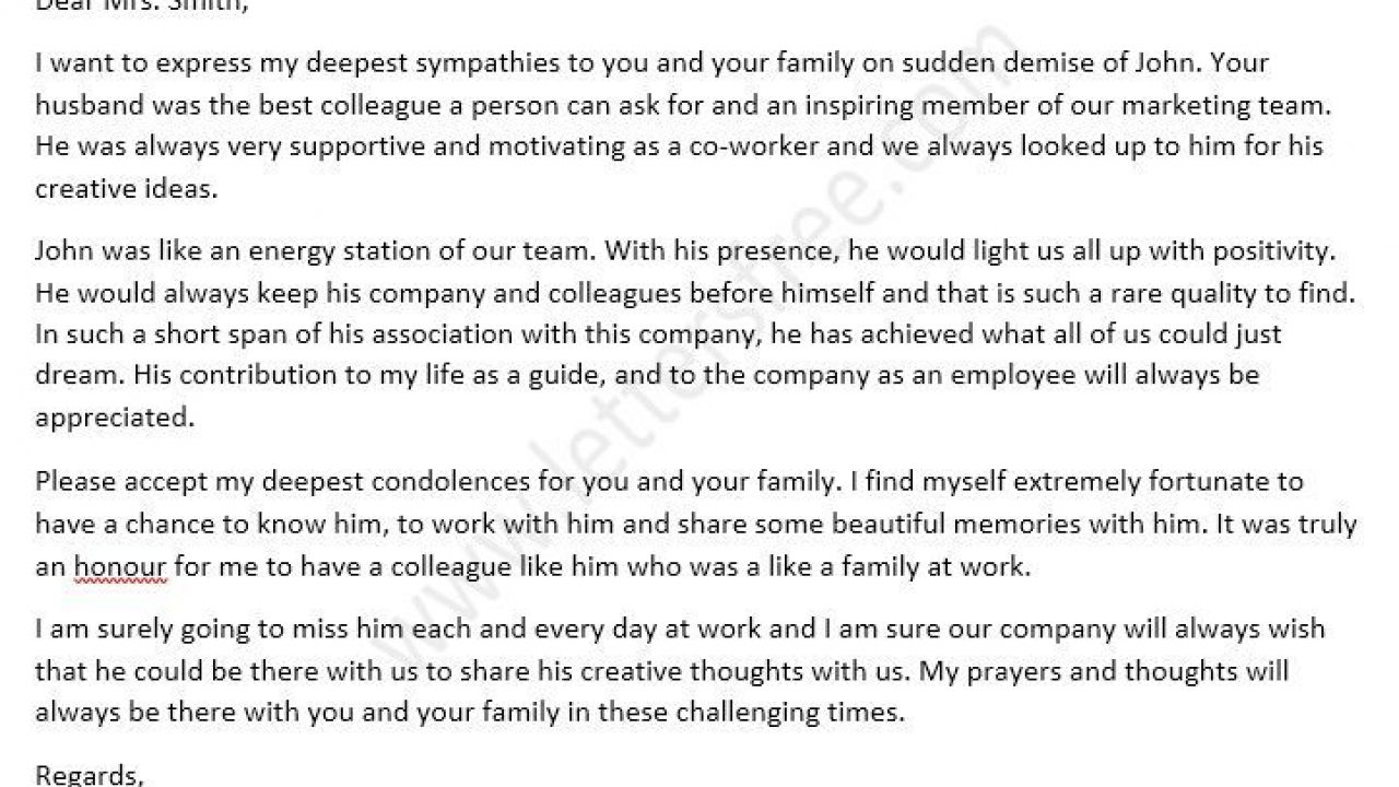 Sympathy Letter For Loss Of Husband from www.lettersfree.com