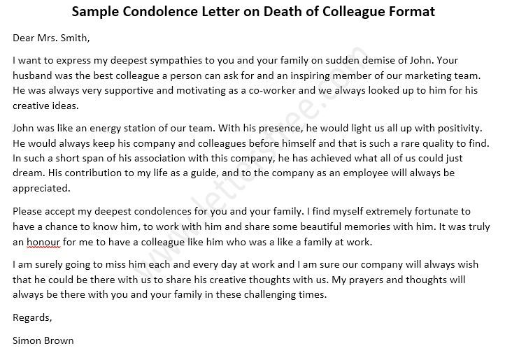 Condolence Letter on Death of Colleague - Sample Format
