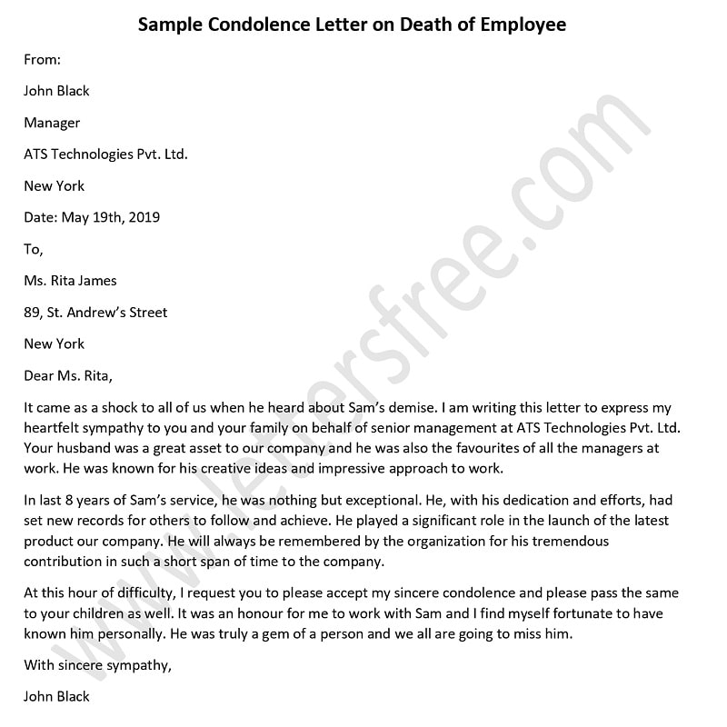 Condolence Letter on Death of Employee