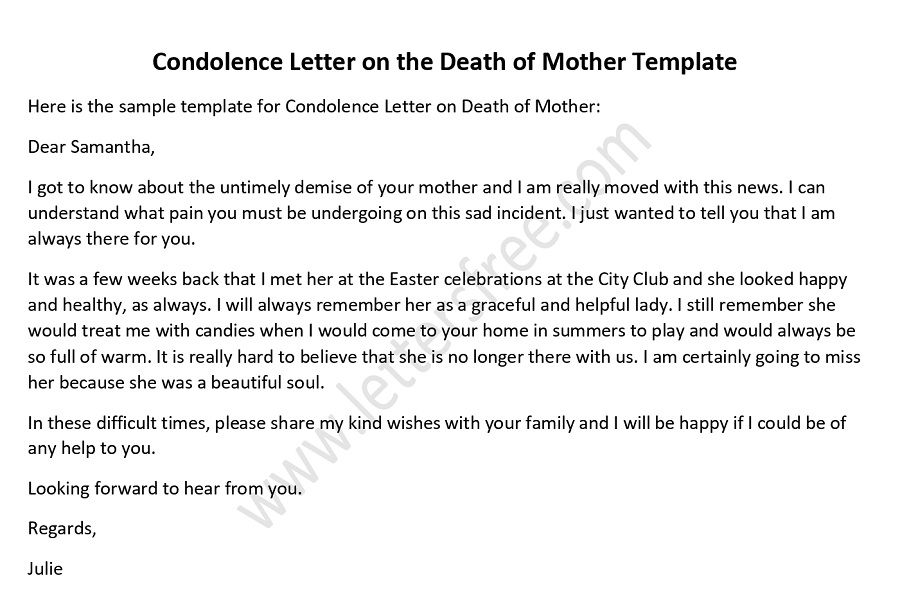 Condolence Letter on Death of Mother Sample