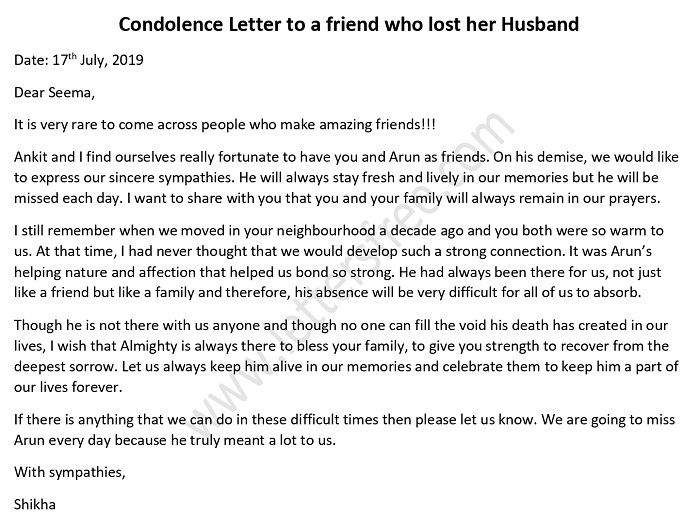 Condolence Letter to a friend who lost her Husband - Condolence letter Format