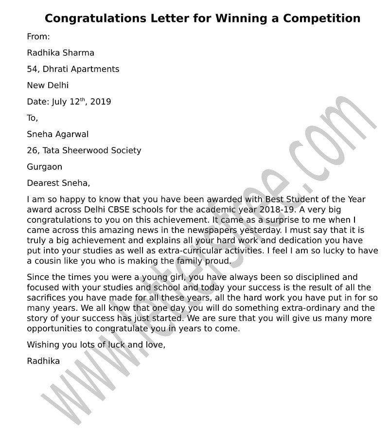 Congratulations Letter for Winning a Competition