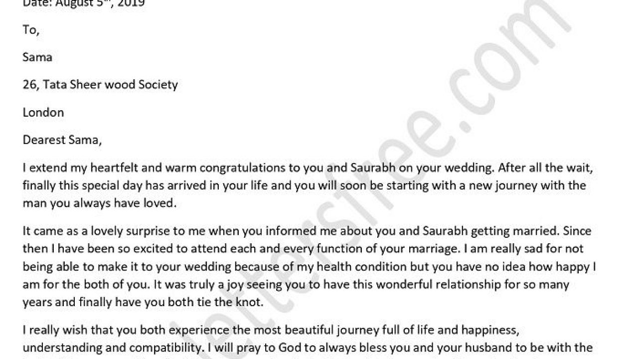 Sample Congratulation Letter for Friend Marriage