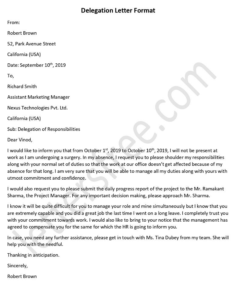 Sample Delegation Letter, Delegation Letter Template
